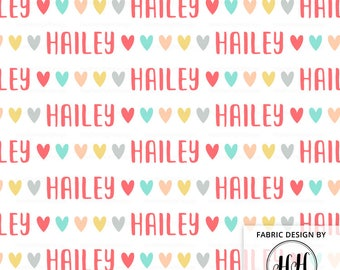 Hearts Personalized Fabric / Custom Name Fabric / Girl Valentine's Day Fabric / Quilting Fabric / Customized Print by the Yard & Fat Quarter