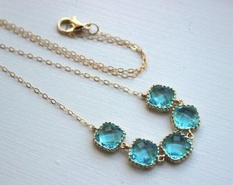 Gold Aquamarine Necklace Blue Necklace - Bridesmaid Gift - Bridal Necklace Aquamarine Wedding Jewelry - Aqua Blue Bridesmaid Jewelry