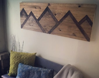 Wood Wall Art Mountain Range