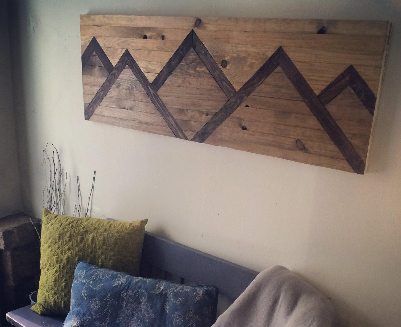 zoom Wood Wall Art Mountain Range