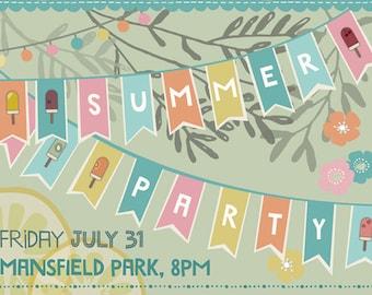 Summer party invitation - custom summer party invite - printable garden party invite
