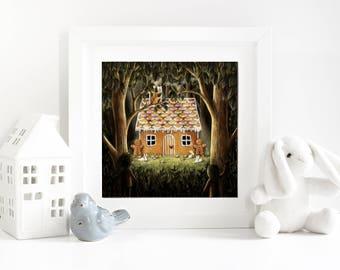 Hansel & Gretal - Giclee Fairytale Fine Art Print - Nursery/Kids room/home decor