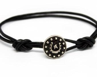 Horseshoe Leather Bracelet, Horseshoe Bracelet, Horse bracelet