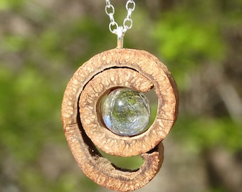 Pendant made of CINNAMON and rock crystal sphere + Sterling Silver necklace