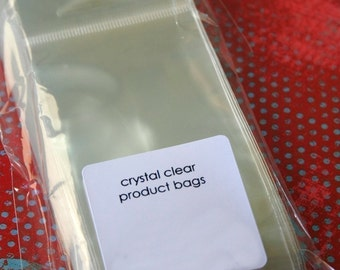 QTY 100 Ultra Clear Bags - Acid and Lignin Free - 2.5 inch x 3.5 inch plus Hanging Tab