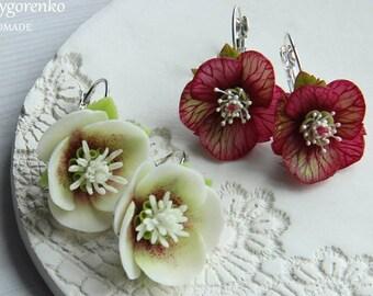 earrings with flower, hellebore earrings, earrings with hellebore, bridesmaids earrings, flower earrings, hellebore jewellery, red earrings