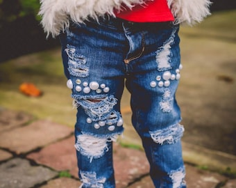 All blinged up Jeans - jewels pearls rhinestone jeans with holes shreds and rips in light or dark wash for baby toddler and all girls!