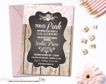 Tickled Pink Baby Shower Invitation, Rustic Baby Shower Invitation, Lace Baby Shower Invitation, Wood and Lace, Lace Invitation
