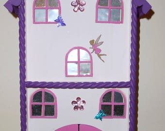 Fairy house with fairy peg dolls / pink / purple