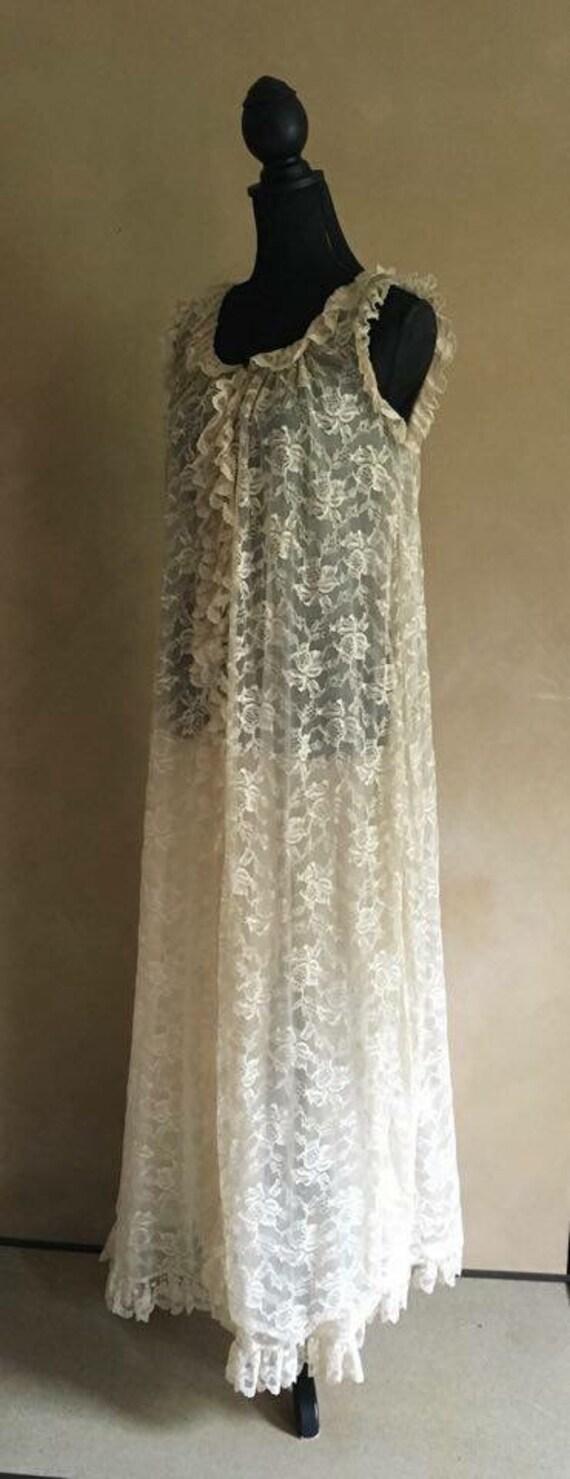 Vintage Bergdorf Goodman Lace Peignoir Robe-Duster