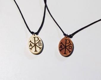Chi Rho wooden pendant