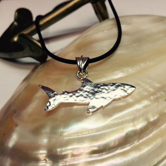 Sterling silver shark charm, sea creature, ocean creature, shark hammered pattern jewelry, hammered design, shark jewelry