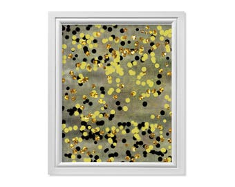 Gold Glitter Print, Gold Digital Print, Modern Abstract Wall Decor, Abstract Dot Painting, Abstract Dot Print, Circle Print, Circle Wall Art