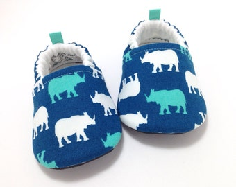 Rhino Baby Shoes, Soft Sole Baby Shoes, Baby Booties, Baby Shower Gift, Rhino Toddler slippers, Teal Baby shoes, Rhinoceros, Blue baby shoes