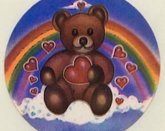 Bear, rainbow & hearts sticker, 1983