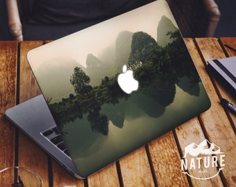 Green Nature Macbook Decal / Gorgeous Landscape Macbook sticker / cool laptop decal / green landscape decal / misty wilderness decal / NI040