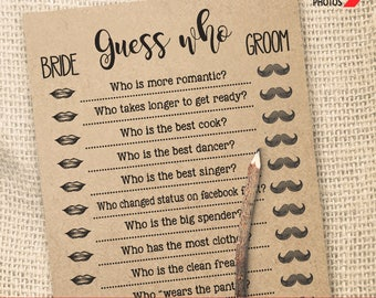 Guess Who game Bridal Shower game printable Wedding shower game Bachelorette party rustic games Instant download WG106