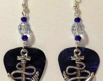 Silver Boat Ship ANCHOR Charm on Guitar Pick Beaded Earrings - Handmade in USA