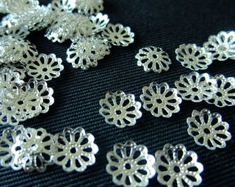 BULK (pkg/100) Fine Flower Bead Cap Spacers - for pendants, jewelry making, crafts, scrapbooking