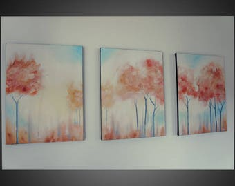 3 Piece Wall Art - Abstract Canvas Art, triptych paintings, abstract art painting, large canvas art, modern wall art, paintings of trees
