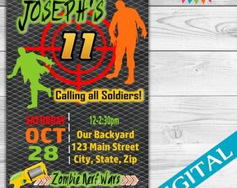 DIGITAL Dart Gun Zombie Party invitation