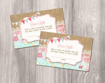 INSTANT DOWNLOAD - Diaper raffle cards, Shabby Chic diaper raffle ticket, baby shower diaper raffle, Baby Girl Printable diaper raffle