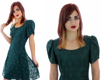 90s Lace Skater Dress Vintage Grunge Dolly 1990s Revival Cut Out Back Rhinestone Details Formal Prom 1980s Babydoll A-line Mini Small S M