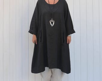 Lagenlook Plus Size Quirky Quality Linen Tunic Top Dress with Pockets,Lagenlook Clothing, Womens Clothing, XL XXL 16 18 20 22 24/26 9405