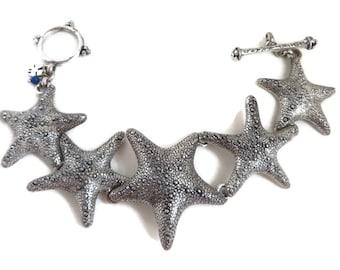 Lucky Brand Bracelet, Vintage Bracelet, Starfish Bracelet, Linked Bracelet, Retro Costume Jewelry, Island Jewelry, Gift Ideas