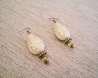 Glass Teardrop Earrings Beige Gold Oriental Boho Crystal