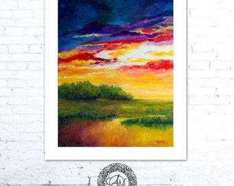 Sunset Painting, Coastal Wall Decor, Landscape Painting, Coastal Artwork, Blue Abstract, Beach Decor, Coastal Art, Art by Alexandra Nicole