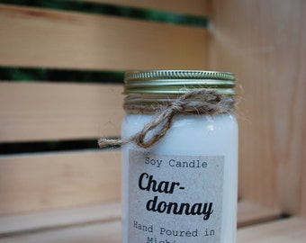 Chardonnay Wine Hand Poured Scented Soy Candle 8oz Jar