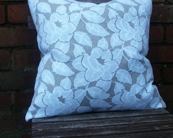 Sale -Decorative Pillow/Cushion Cover in  Beige Linen with a White Lace Overlay