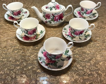 English Rose Roy Kirkham Fine Bone China England 1992 Teacup Saucer and Teapot Set, Item #593145366