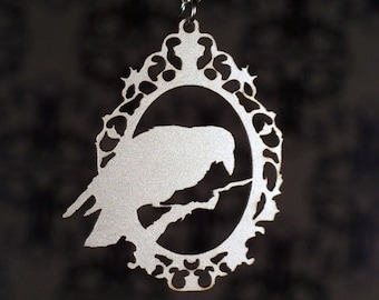 Cameo Raven necklace, silver crow jewelry, Crow pendant, Raven Jewelry, Raven Pendant