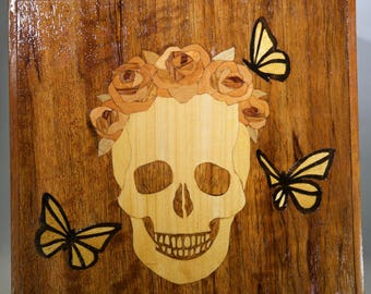 Marquetry Skull, Roses, and Butterflies Box OOAK