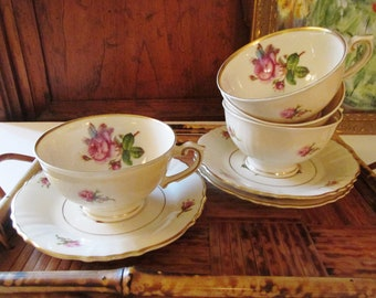 Four Victoria by Syracuse Teacups and Saucer, Afternoon Tea, Romantic Vintage China, Roses, Mother's Day, 1950's Garden Teacups