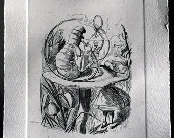 The tips of a caterpillar, engraving intaglio, etching, Absolem, Alice in Wonderland, Lewis Carroll