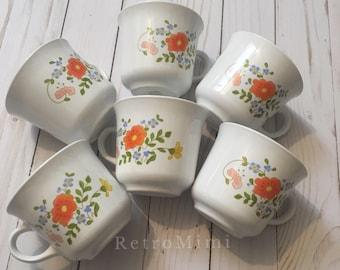 6 Corning Ware Wildflower Mugs - vintage orange flower teacups - floral tea cups
