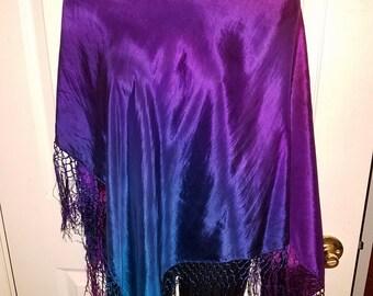 Hand Dyed Silk Hips Fringed Triangle Hip Scarf Belt Boho Hippie Style Top Festival Wear Halter Top Silk Shawl Scarf Nomad Style Belt