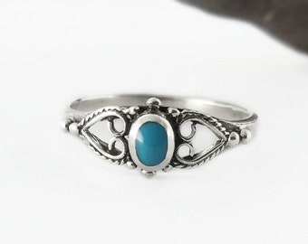 Turquoise Ring~Silver Turquoise Heart Ring~Natural Turquoise Stone Ring~Promise Ring~December Birthstone~Pinky Ring~Midi Ring~Gift for Her