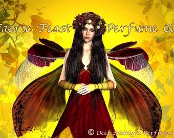 FAERIE FEAST Perfume Oil - White amber, dried leaves, pumpkin, laurel, spices, toasted sugar, cream - HALLOWEEN Perfume - Autumn Fragrance