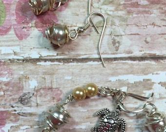 Wedding ~ Bridesmaid ~ Jewelry ~ Gifts Wire & Glass Bead Earrings ~ Caged Bead Design ~ Handmade ~ Customizable