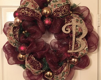 Burgundy and Gold Monogrammed Wreath