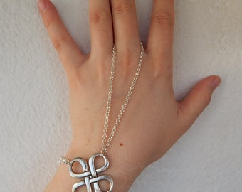 """Knot slave bracelet """"Clover"""" in silver or bronze tone - Celtic/Pagan/Fae/Fantasy/Goth style"""