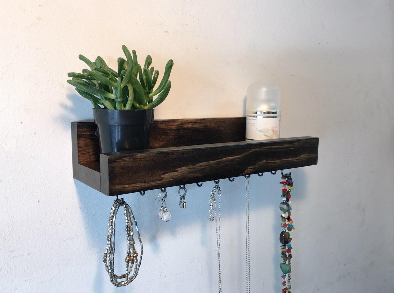 Rustic wood jewelry shelf jewelry hooks wall jewelry