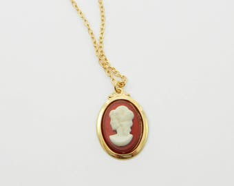 Red and Gold Cameo Necklace - NC0024