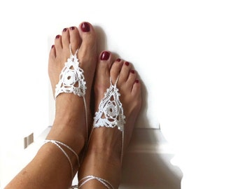 Barefoot sandals beach weddings sandals white belly dance bride accessories bridesmaid anklets