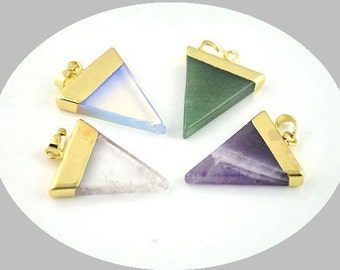 6pcs Gemstone Triangle Druzy Pendant, Quartz, Opal, Amethyst Triangle Charm Pendant with Gold / Silver Electroplated Cap and Bail, Chakra