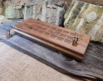 Deluxe Black Walnut and Birdseye Maple Cribbage Board